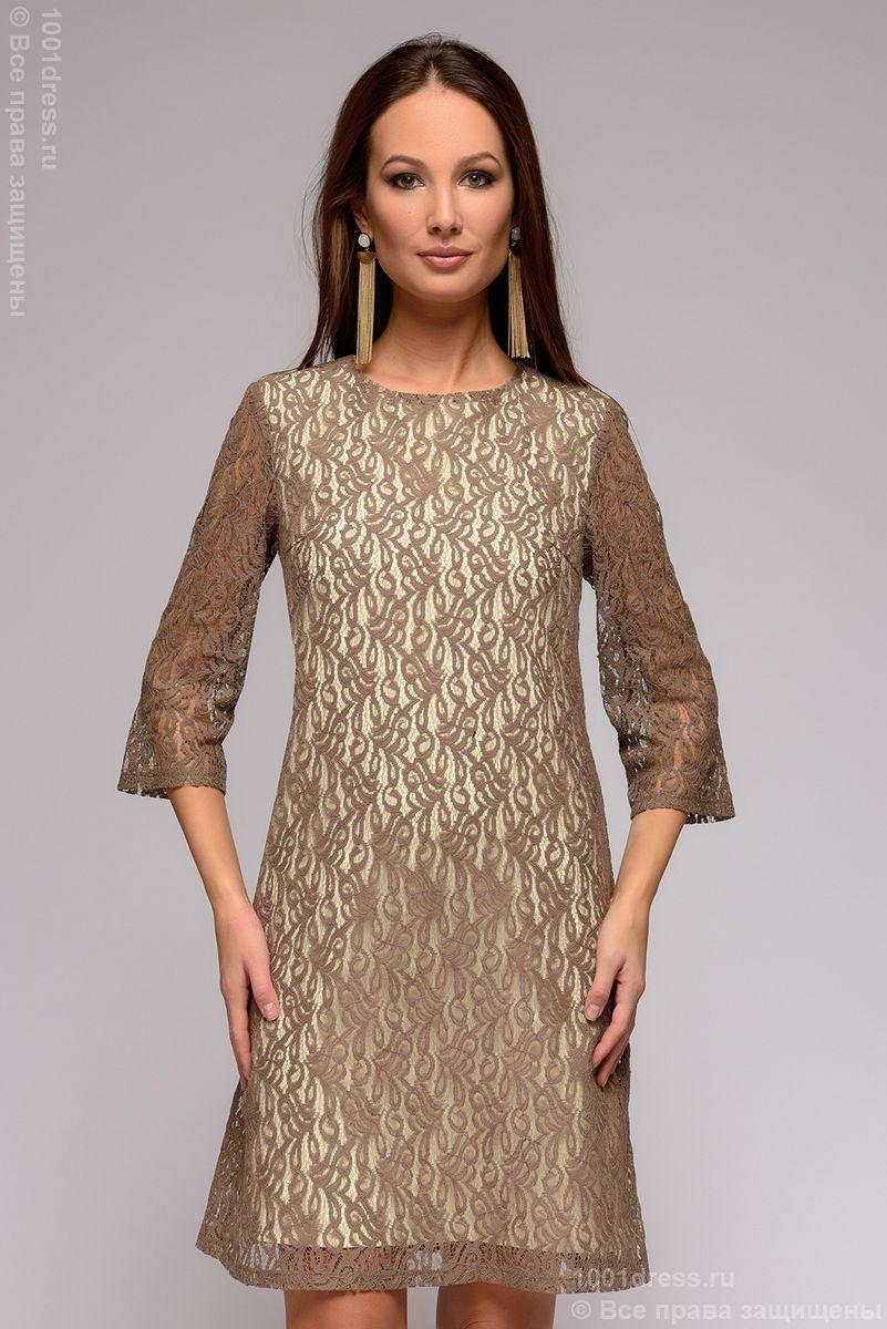 bb8284a7929b05d 1001DRESS Платье цвета мокко кружевное длины мини - Glami.ru