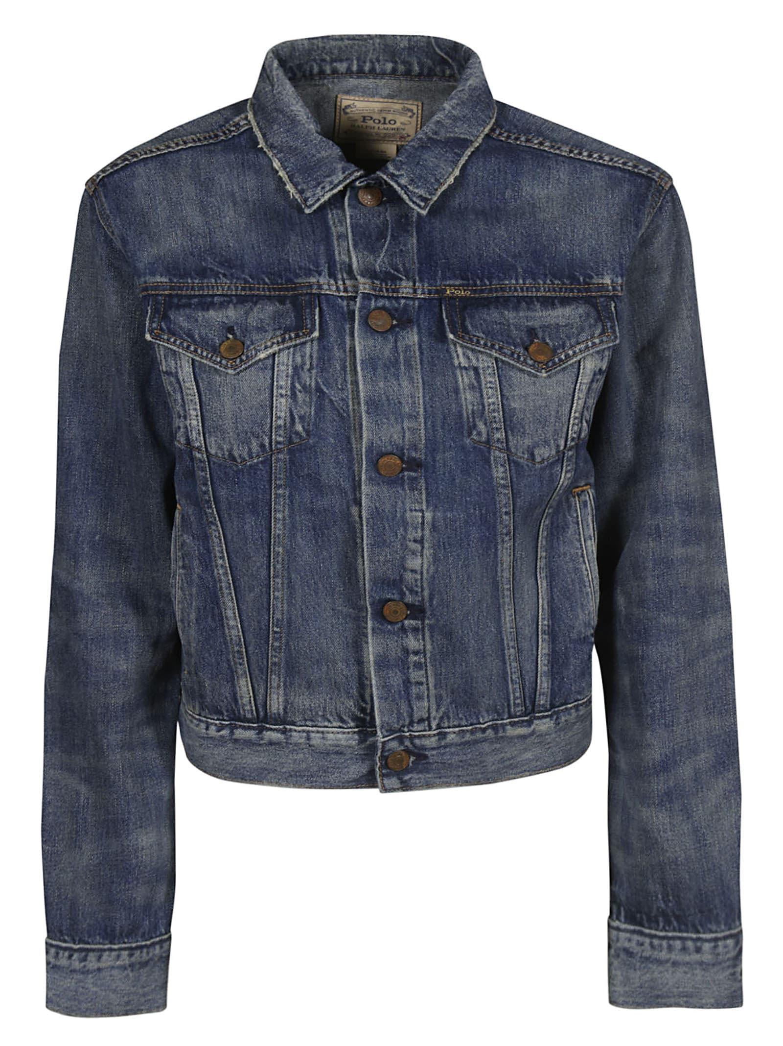 Ralph Denim Polo Jacket Cropped Lauren Women T3FKl1Jc
