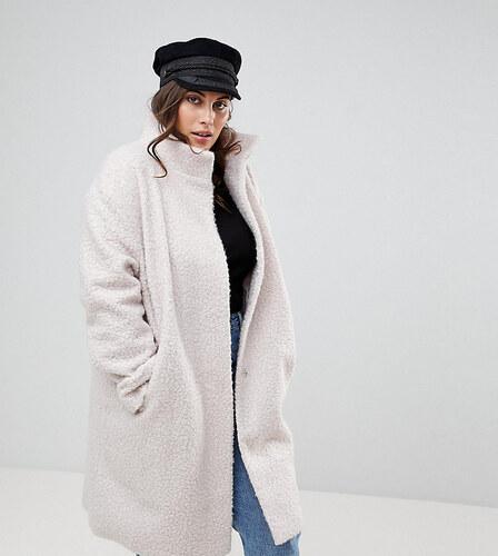 418da03243a Оверсайз-пальто с высоким воротником ASOS CURVE - Кремовый - Glami.ru