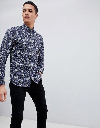 28bc5fda9840ca3 Узкая рубашка с цветочным принтом Jack & Jones Premium - Темно-синий ...