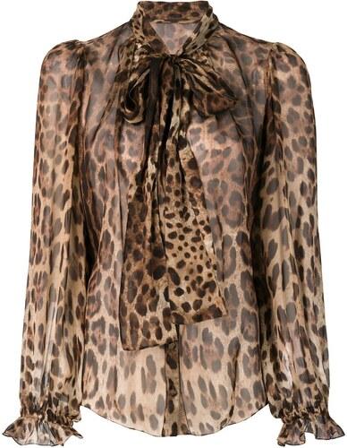e9be819097a Dolce   Gabbana блузка с завязкой на бант и леопардовым принтом ...