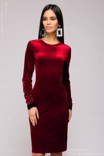 602ca4e6fbe62d7 1001DRESS Платье бархатное цвета марсала длины мини с кружевной отделкой  рукава