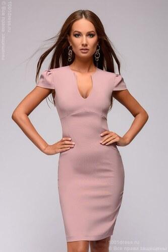 b64871e110f 1001DRESS Платье-футляр цвета пыльной розы с глубоким вырезом и короткими  рукавами
