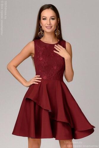 eb9518b6ad8ec02 1001DRESS Платье бордовое длины мини с кружевным верхом - Glami.ru