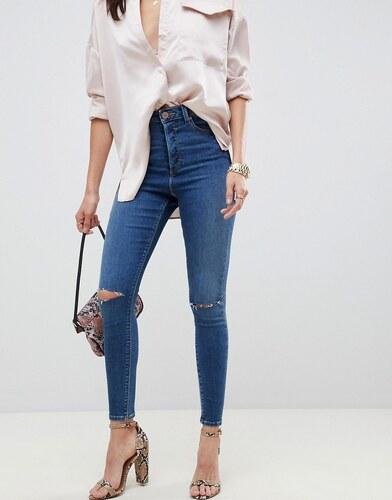 1da55f2142d -50% Темные джинсы скинни с прорехами и завышенной талией ASOS DESIGN  Ridley - Синий