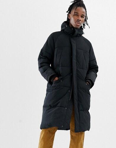 80a0fcfd -20% Черная удлиненная дутая куртка с капюшоном ASOS DESIGN - Черный