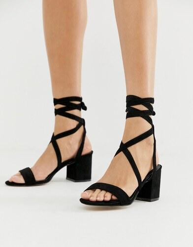b72a7fb67 Черные босоножки на среднем каблуке с завязкой Public Desire Sophie - Черный