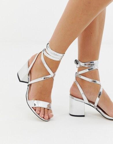 7f930f31e Серебристые блестящие босоножки на среднем каблуке с завязкой Public Desire  Sophie - Серебряный
