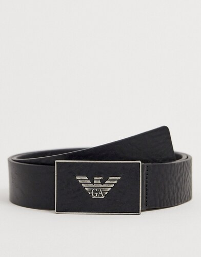 596c1891fda1 Черный кожаный ремень с пряжкой Emporio Armani - Черный - Glami.ru