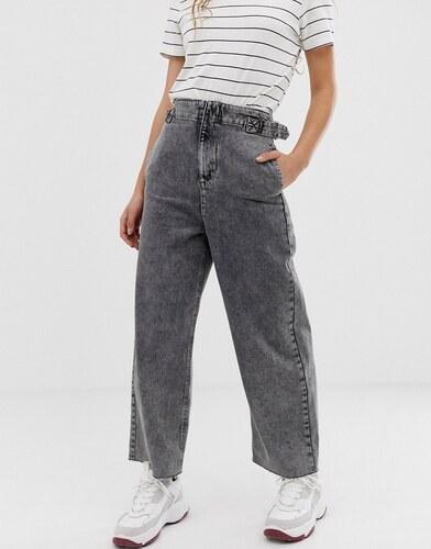 490968beb82 -23% Темно-серые широкие джинсы с поясом на резинке и эффектом кислотной  стирки ASOS DESIGN -