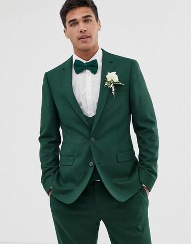 8059eb19300e Зеленый фактурный приталенный пиджак ASOS DESIGN wedding - Зеленый ...