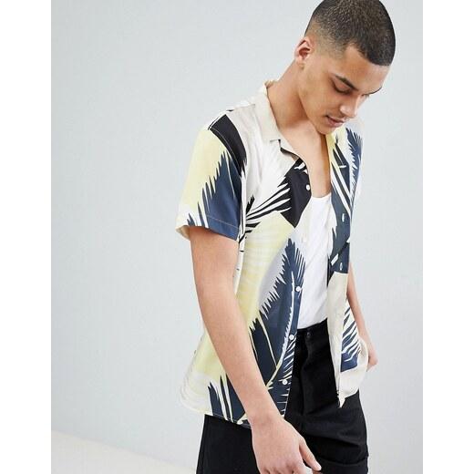 5933227ace863e0 Рубашка со сплошным принтом и отложным воротником Selected Homme - Белый -  Glami.ru